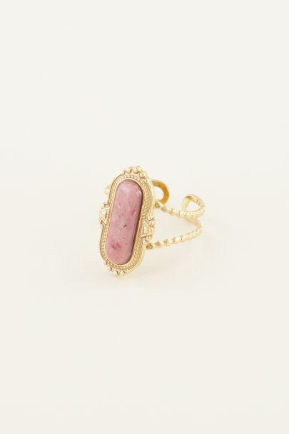 Rosa Edelstein Ring| Ring mit Stein| Ringe für Frauen My Jewellery
