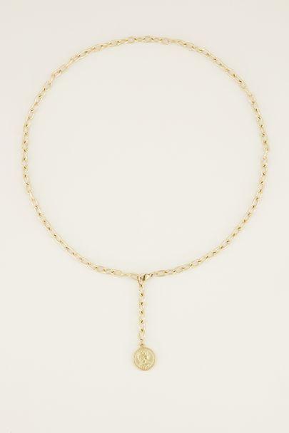 Ketting y vorm met munt | Munt ketting bij My Jewellery