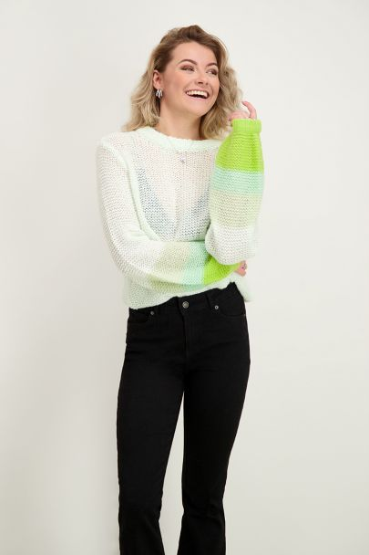 Groene trui met ballonmouw
