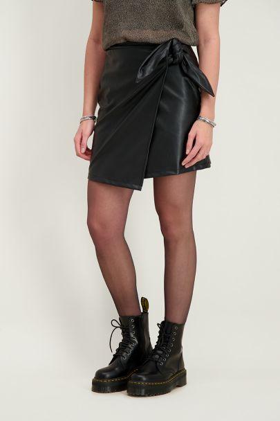 Overslagrok leatherlook & strik