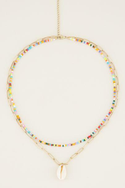 Dubbele ketting kralen & schelp | Kralen ketting My Jewellery