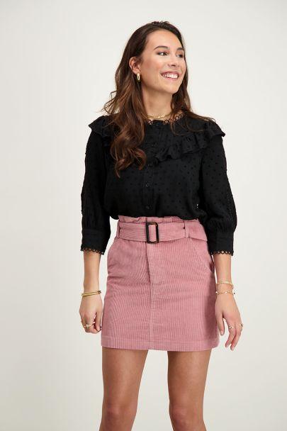 Zwarte blouse ruffles & stipjes