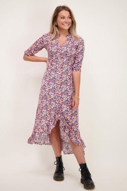 Lange jurk roze & oranje print