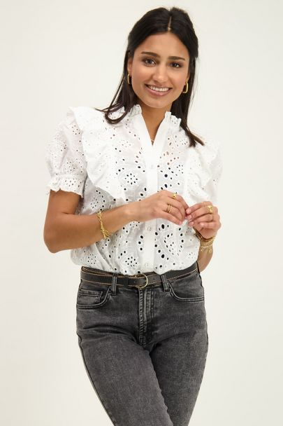 Witte blouse embroidery