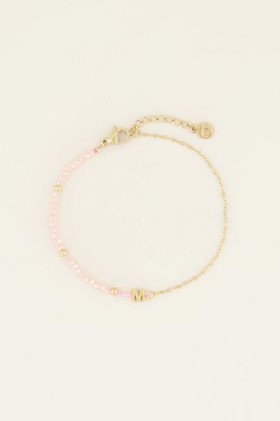 Roze kralen armband met initial