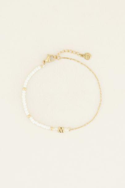 Witte kralen armband met initial