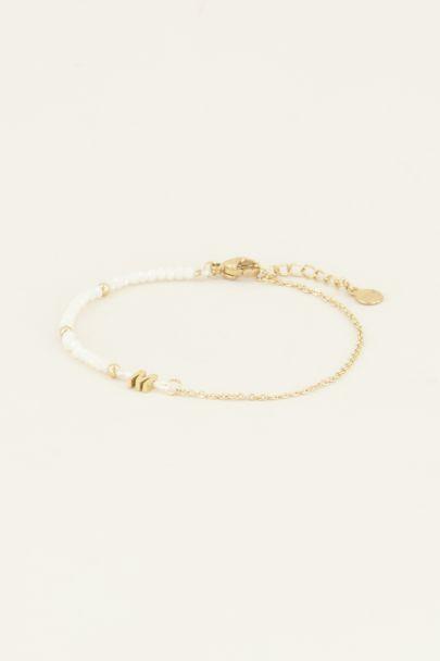 Witte kralen armband met initial | Witte armband | My Jewellery