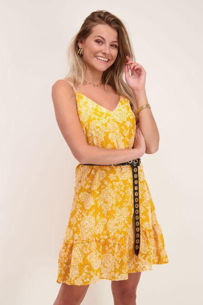 Gele jurk spaghetti bandjes