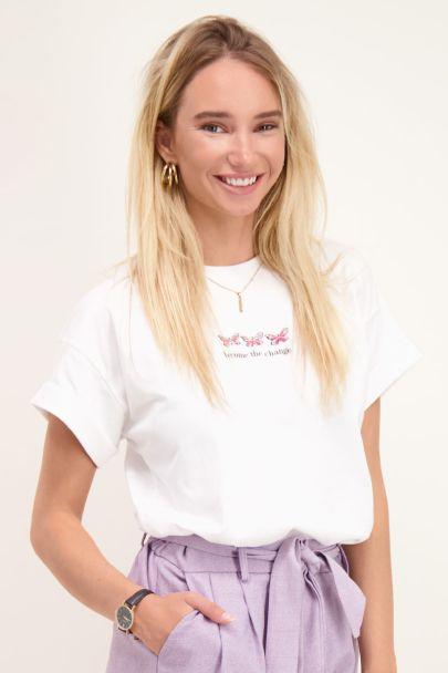 Wit T-shirt met geborduurde vlinders