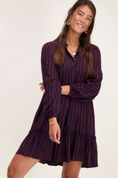 Black dress with pink stripes