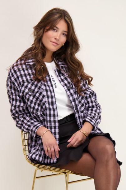 Zwart-lila oversized jas met ruitjes