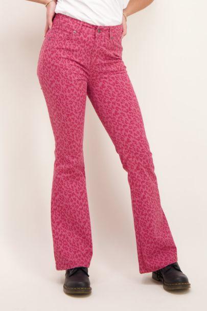 Roze flared met panterprint