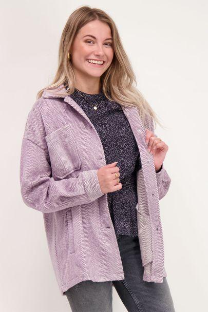 Oversized jas met lila patroon