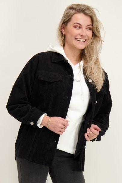 Zwart oversized corduroy jacket
