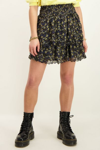 Black skirt with floral print & layers