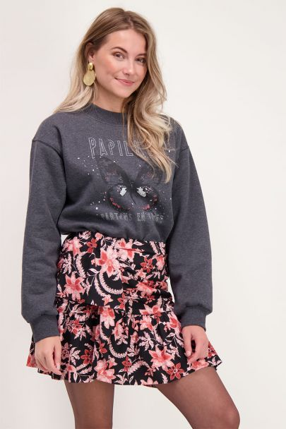 Grey sweater with butterfly