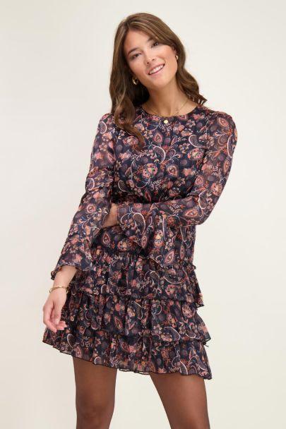 Black dress with paisley print & flowers