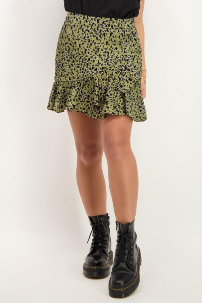 Green wrap skirt with leopard print