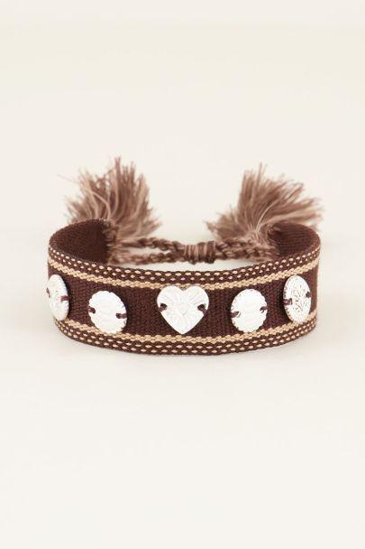 Bruine bohemian armband met zilveren bedeltjes | My Jewellery