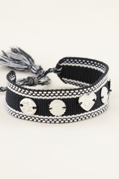 Zwarte bohemian armband met zilveren bedeltjes