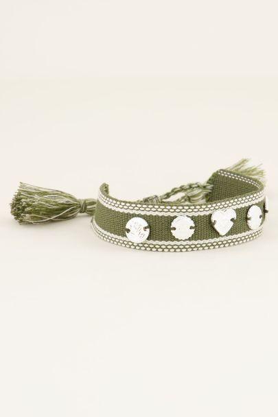 Groene bohemian armband met zilveren bedeltjes
