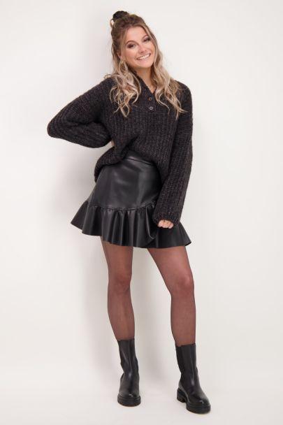 Donkergrijze oversized trui met knopen