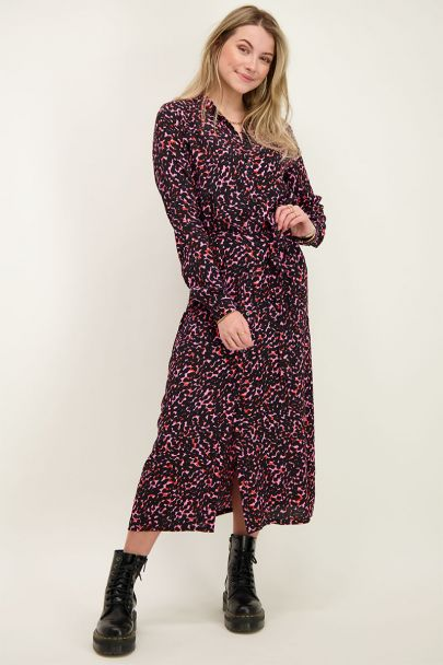 Shirt dress with leopard print