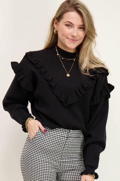 Zwarte trui met ruffles