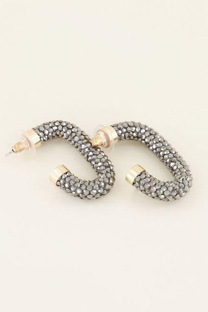 Oorbellen zilveren strass ovaal | My Jewellery