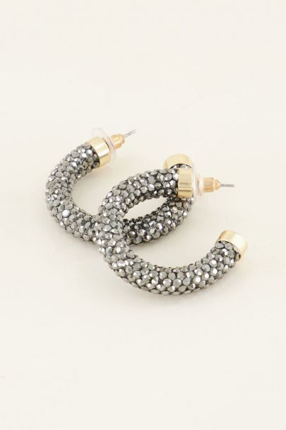 Oorbellen zilveren strass rond | My Jewellery