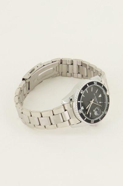 Horloge schakelband zwarte wijzerplaat