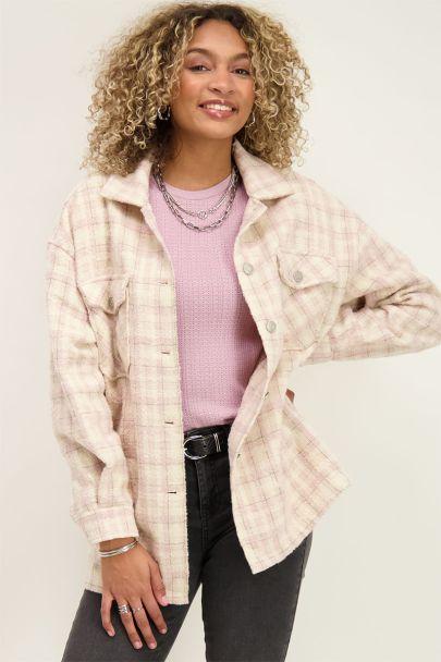 Roze oversized jas met ruitjes