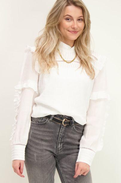 Witte blouse met details