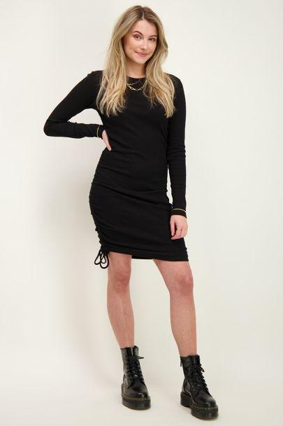 Zwarte rib jurk met optrekkoord