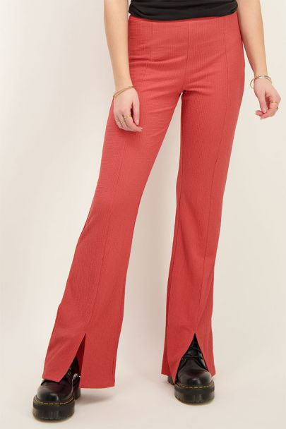 Red structured flared pants