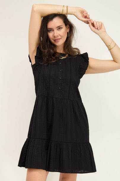 Black wide-fitting dress with flounce