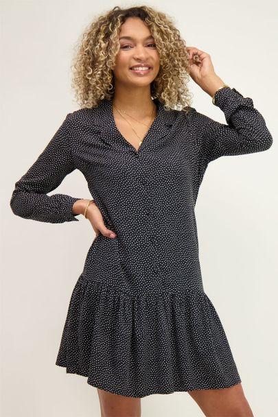 Zwarte blousejurk met stippen