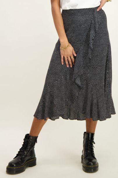 Zwarte midi rok met ruffles en stippen