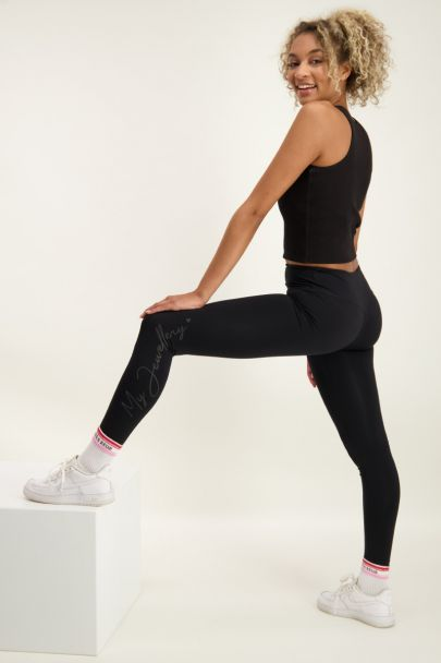Black sports leggings with logo