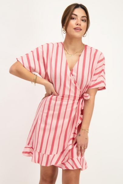 Pink wrap dress with red stripes