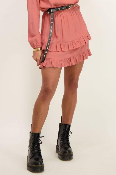 Coral ruffle skirt