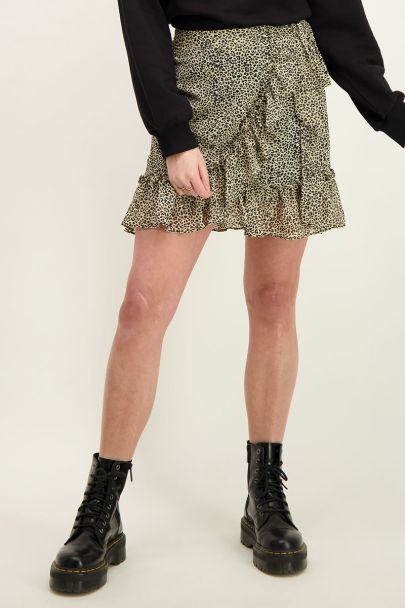 Beige skirt with leopard print