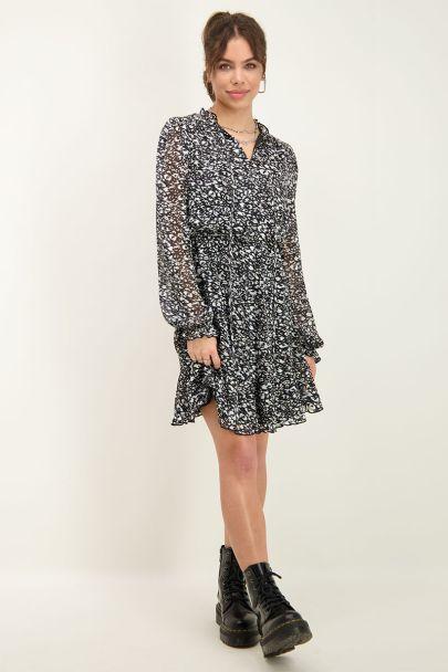 Zwarte jurk met blauwe luipaardprint