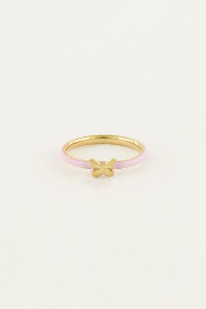 Ring roze vlinder