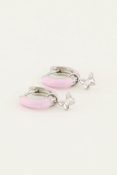 Earhoops pink butterfly