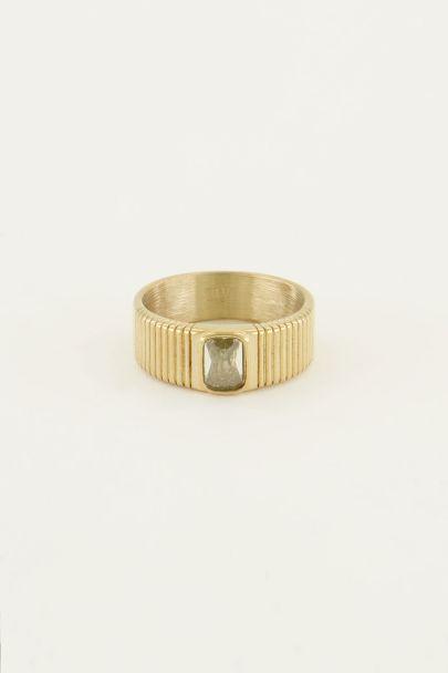 Brede ring met gele steen | My Jewellery