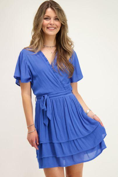 Blauwe crinkle jurk met laagjes