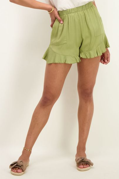 Green shorts with ruffle