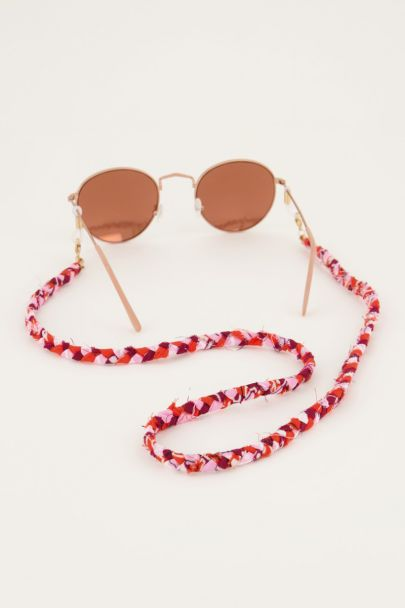 Roze zonnebrilkoord gevlochten