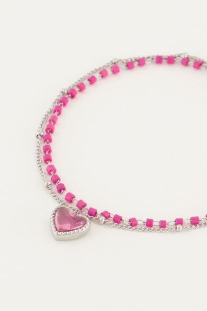 Armbandje dubbel kralen hart